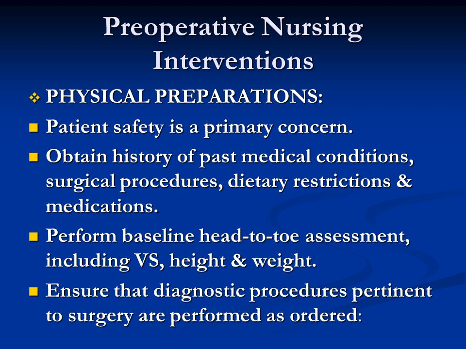 Preoperative Nursing Interventions