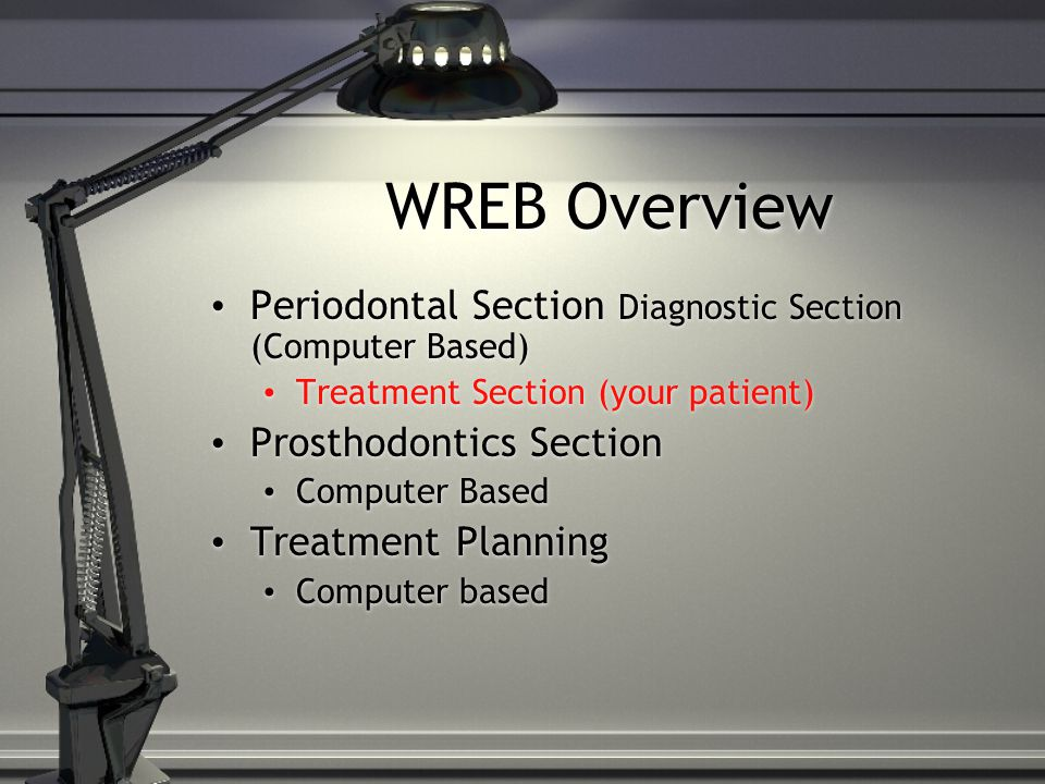 WREB Overview Periodontal Section Diagnostic Section (Computer Based)