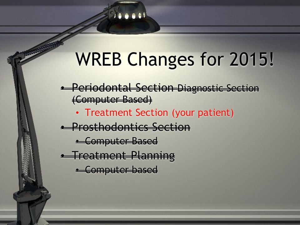 WREB Changes for 2015! Periodontal Section Diagnostic Section (Computer Based) Treatment Section (your patient)