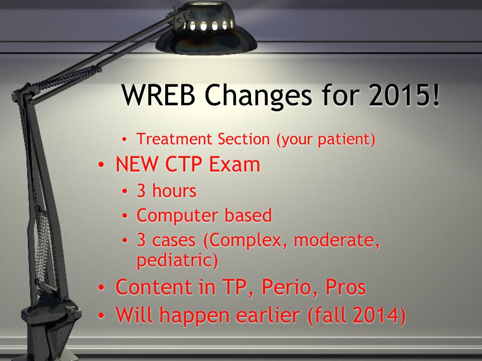 WREB Changes for 2015! NEW CTP Exam Content in TP, Perio, Pros