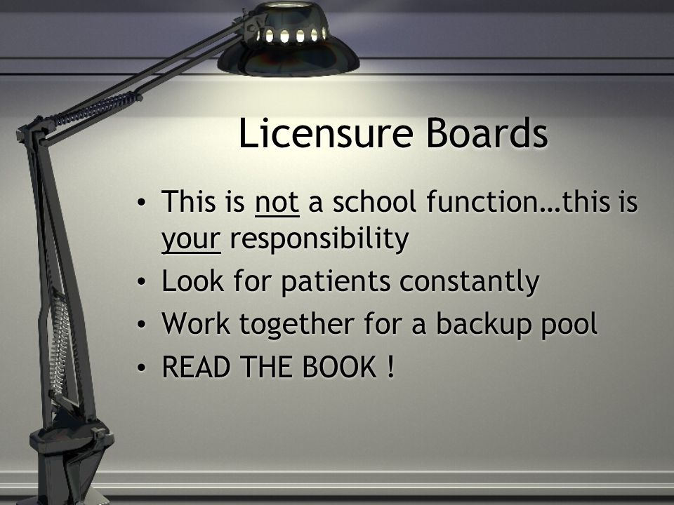 Licensure Boards This is not a school function…this is your responsibility. Look for patients constantly.