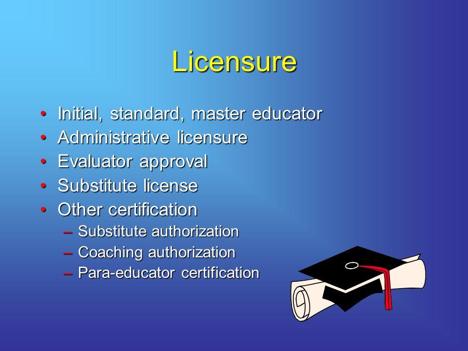 Licensure Initial, standard, master educator Administrative licensure