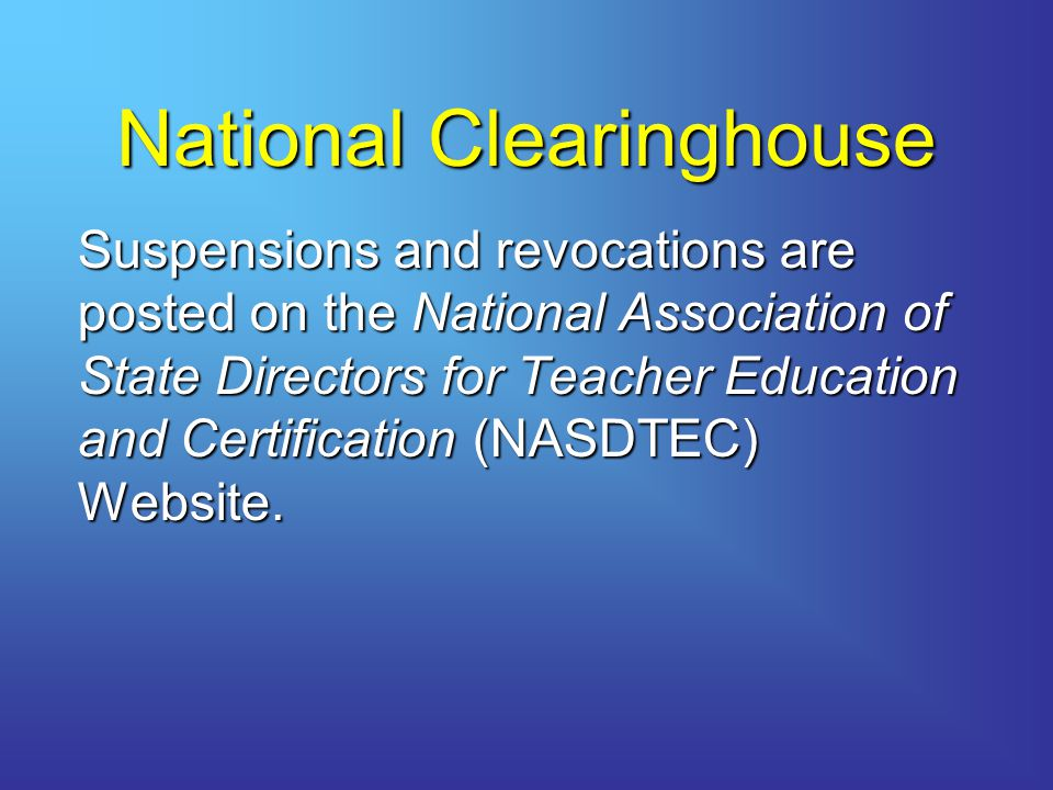 National Clearinghouse