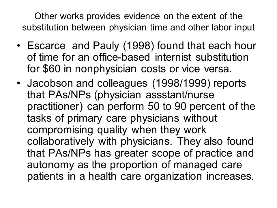 Other works provides evidence on the extent of the substitution between physician time and other labor input