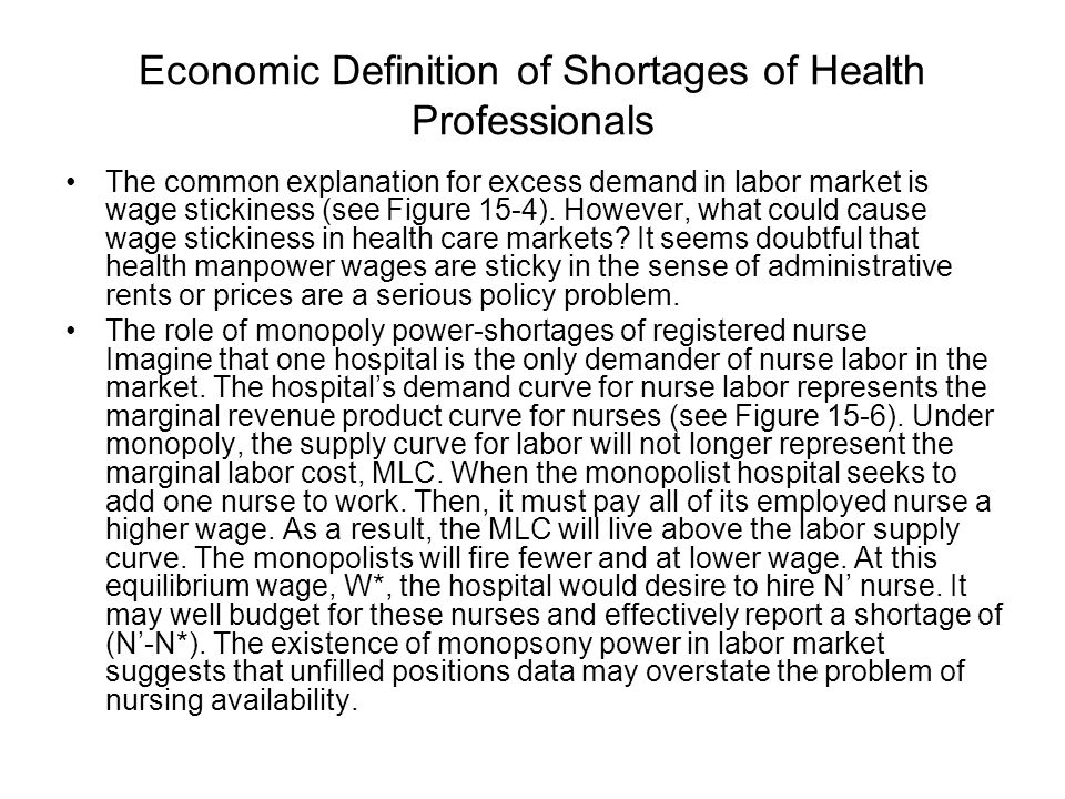 Economic Definition of Shortages of Health Professionals
