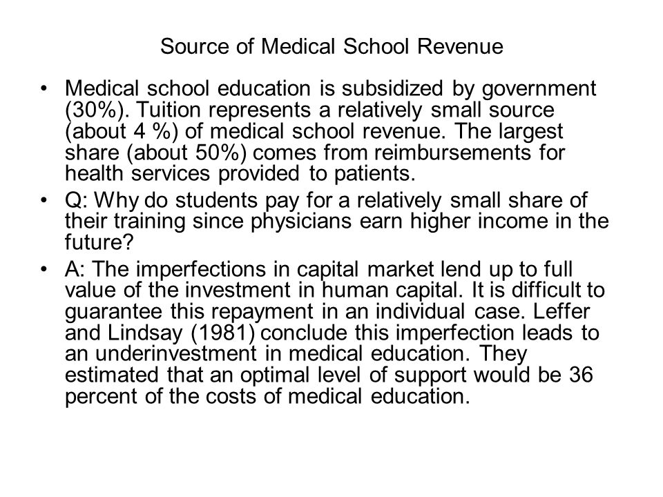 Source of Medical School Revenue