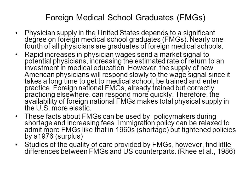 Foreign Medical School Graduates (FMGs)