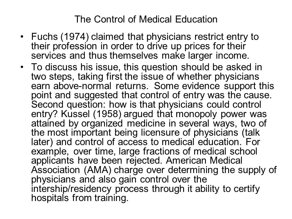 The Control of Medical Education