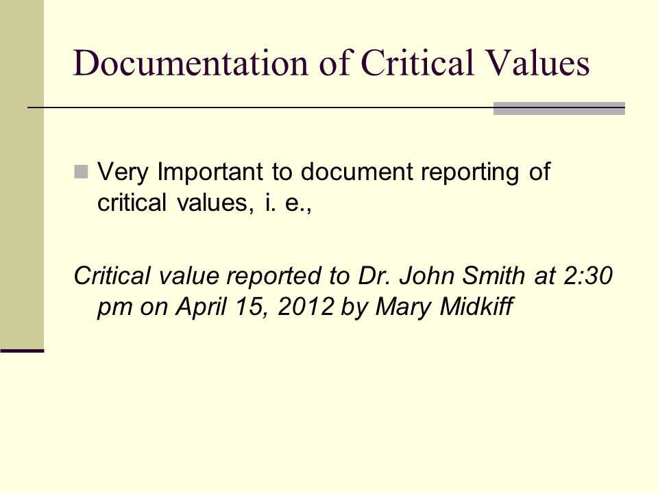 Documentation of Critical Values