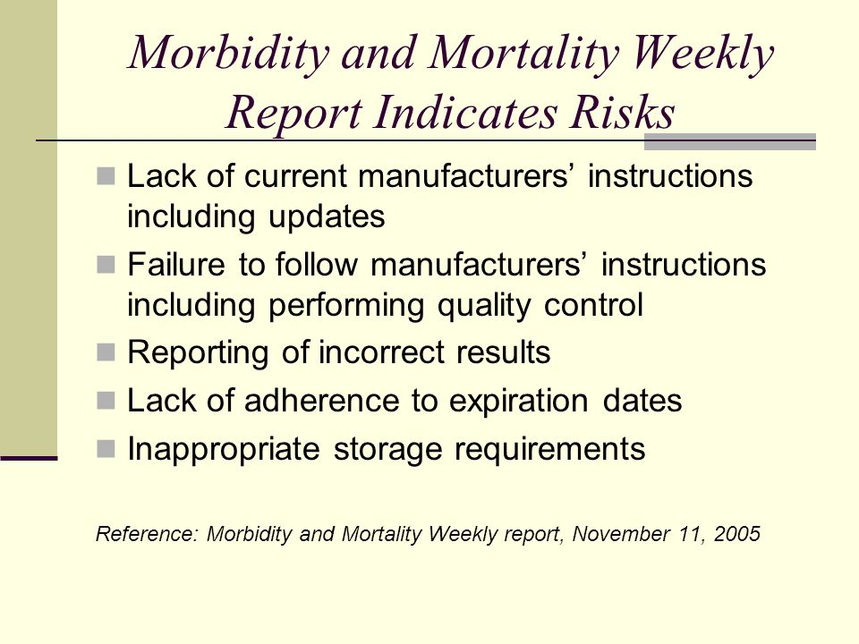 Morbidity and Mortality Weekly Report Indicates Risks