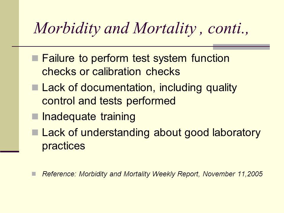 Morbidity and Mortality , conti.,