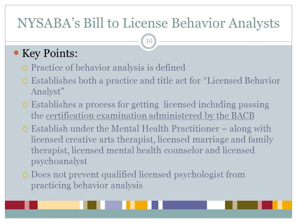 NYSABA's Bill to License Behavior Analysts