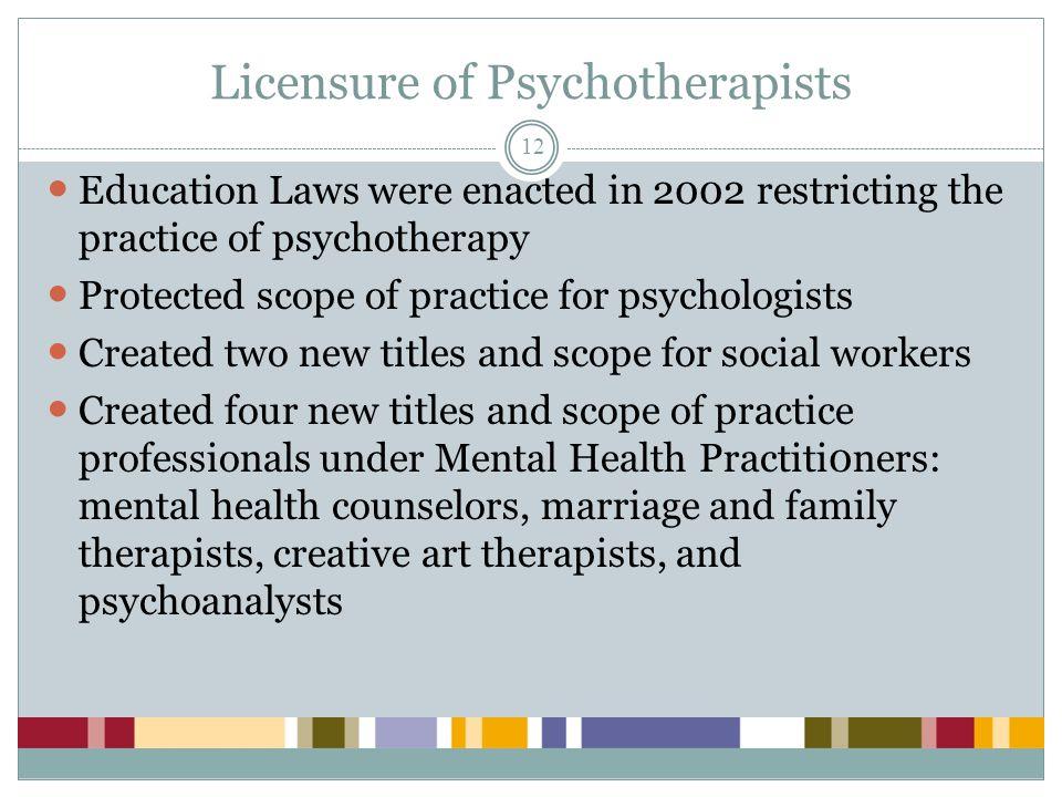 Licensure of Psychotherapists