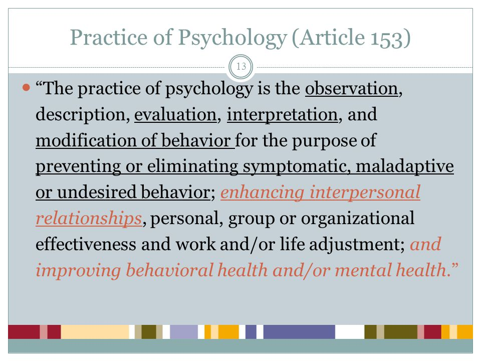 Practice of Psychology (Article 153)