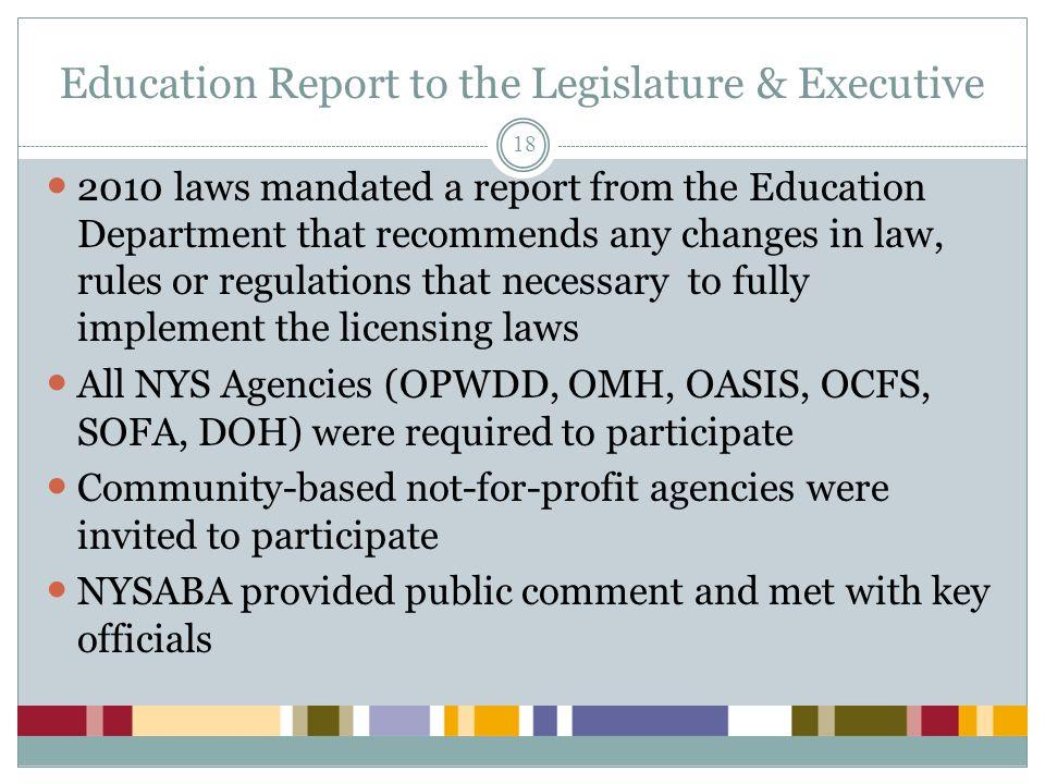 Education Report to the Legislature & Executive