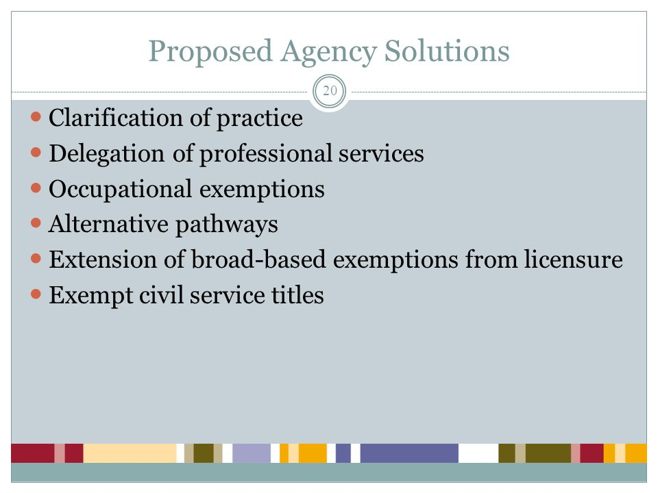 Proposed Agency Solutions