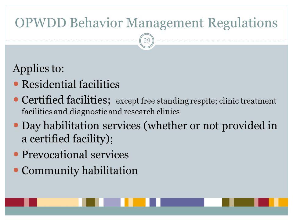 OPWDD Behavior Management Regulations