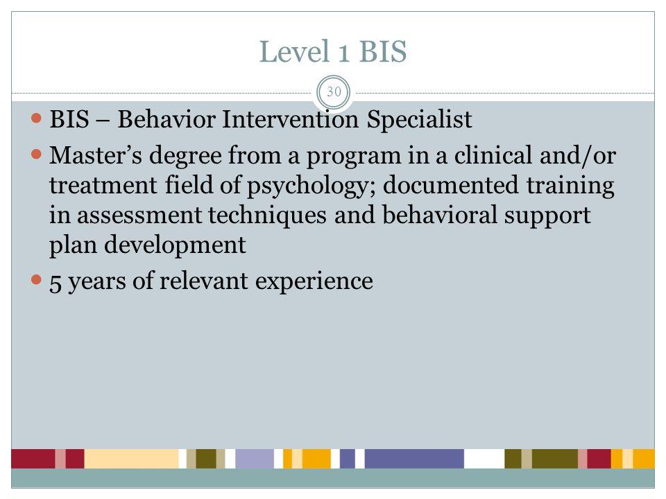 Level 1 BIS BIS – Behavior Intervention Specialist