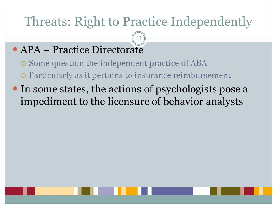 Threats: Right to Practice Independently