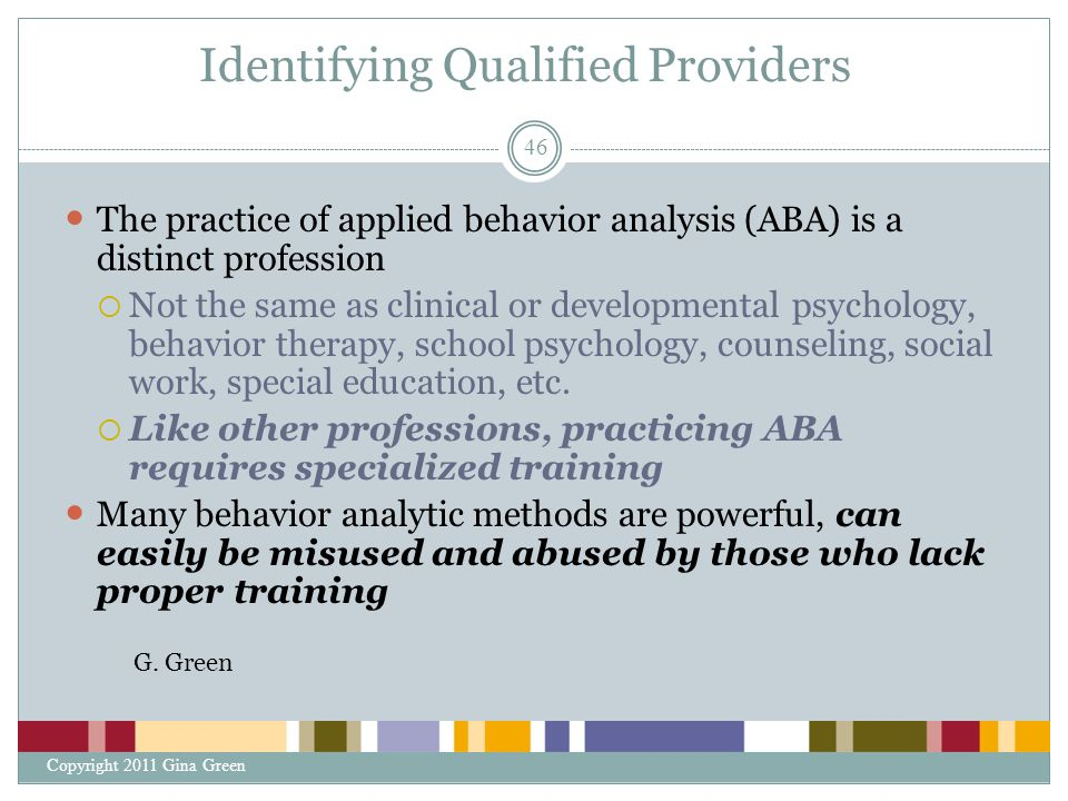 Identifying Qualified Providers