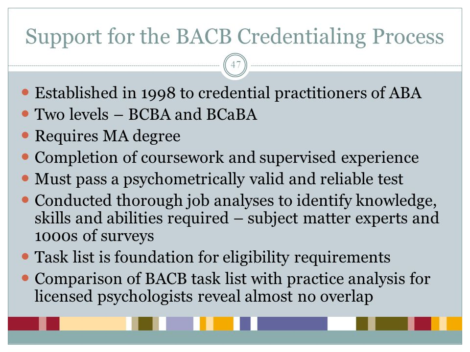 Support for the BACB Credentialing Process