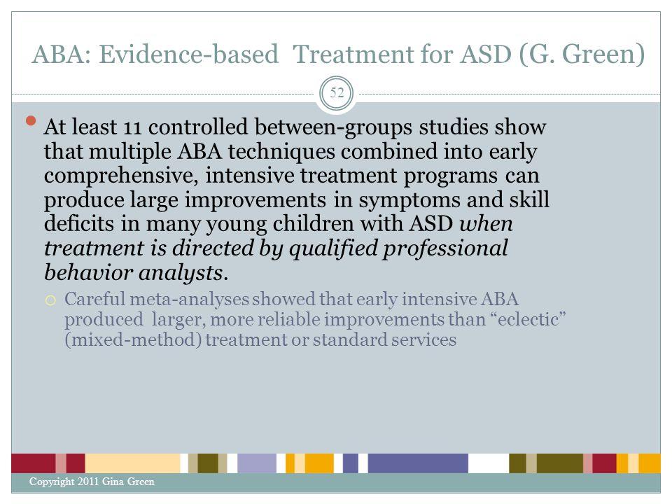 ABA: Evidence-based Treatment for ASD (G. Green)