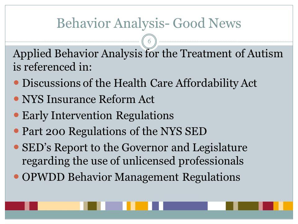 Behavior Analysis- Good News