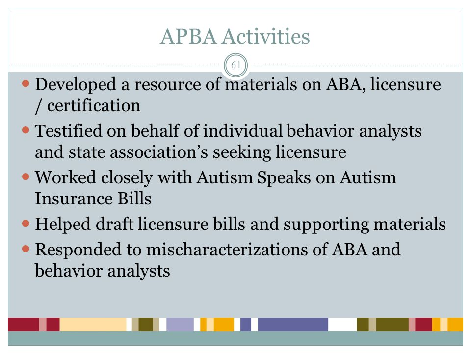 APBA Activities Developed a resource of materials on ABA, licensure / certification.