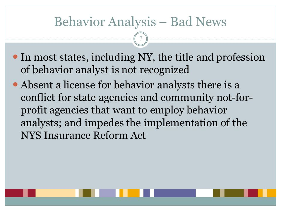 Behavior Analysis – Bad News