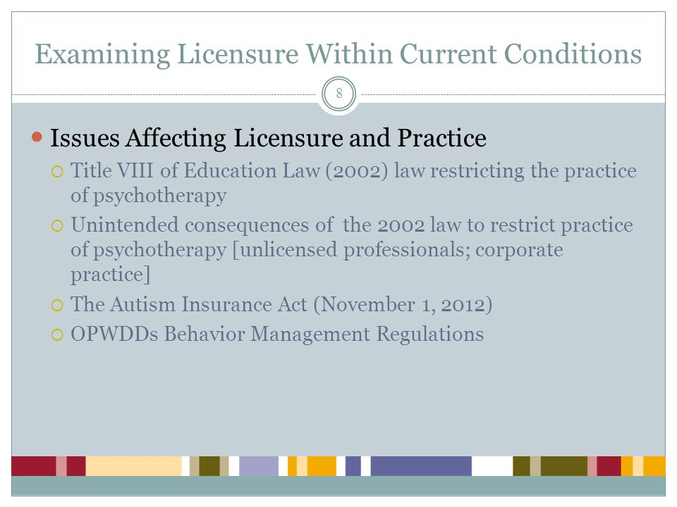 Examining Licensure Within Current Conditions