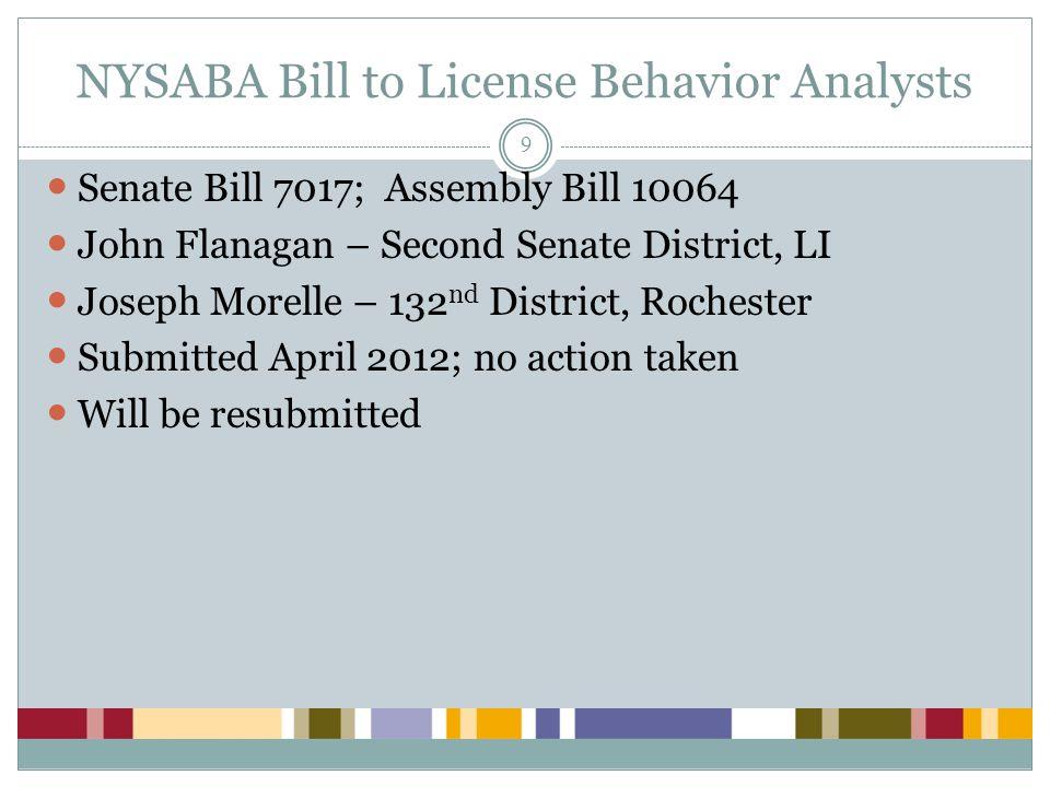 NYSABA Bill to License Behavior Analysts