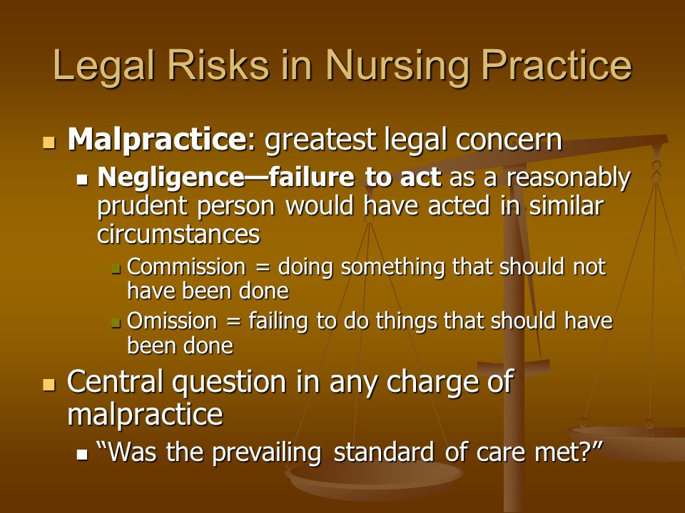 Legal Risks in Nursing Practice