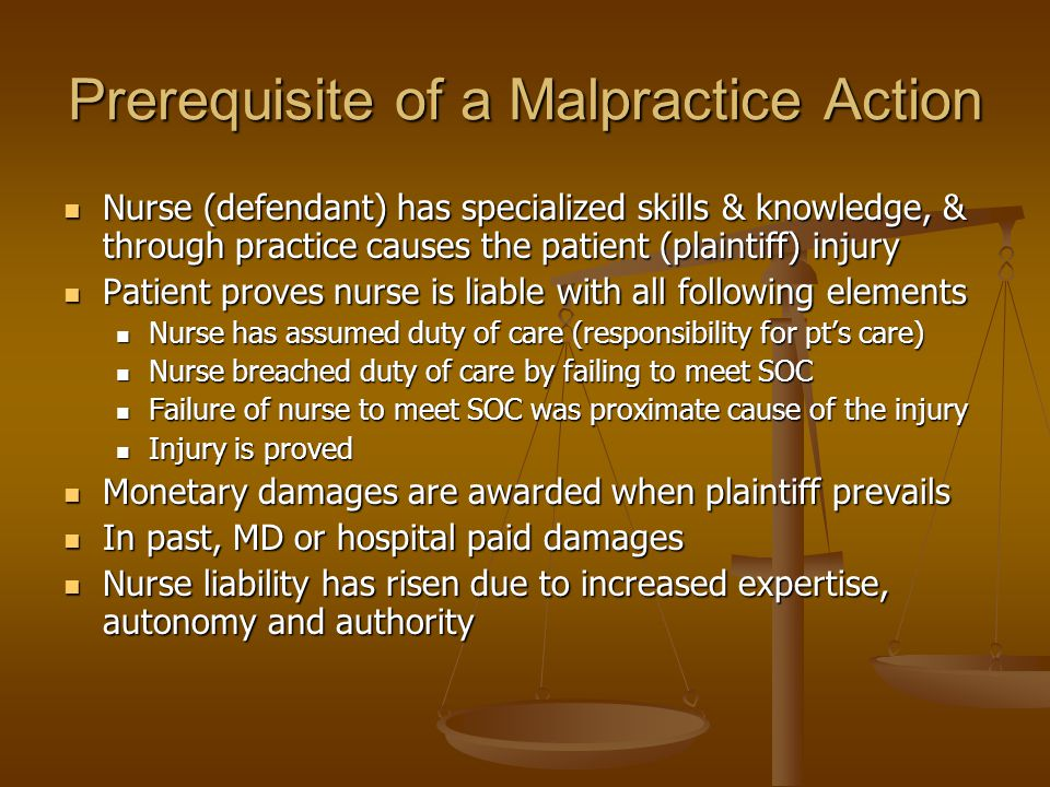 Prerequisite of a Malpractice Action