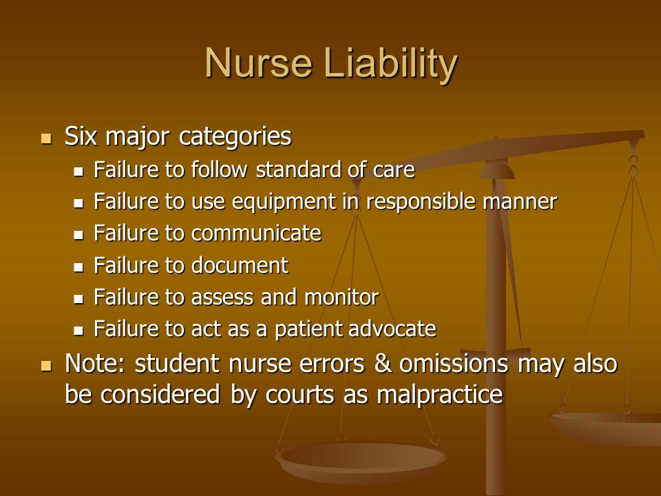 Nurse Liability Six major categories