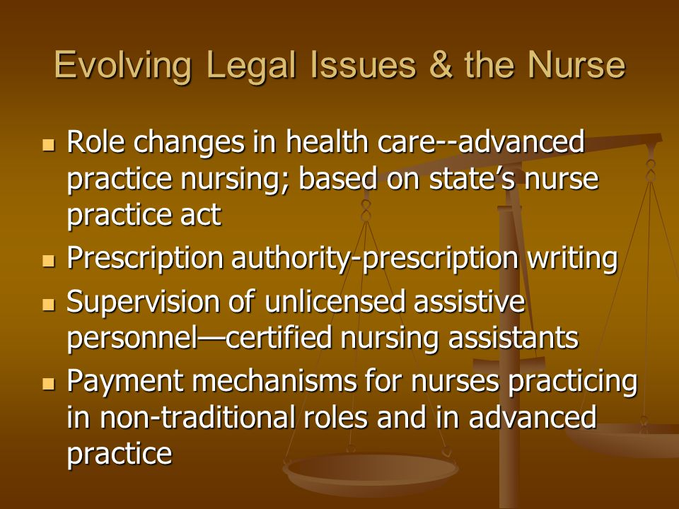 Evolving Legal Issues & the Nurse