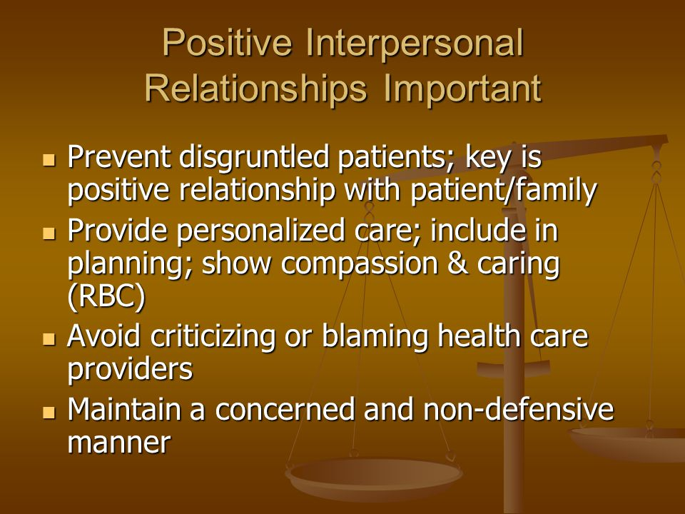 Positive Interpersonal Relationships Important