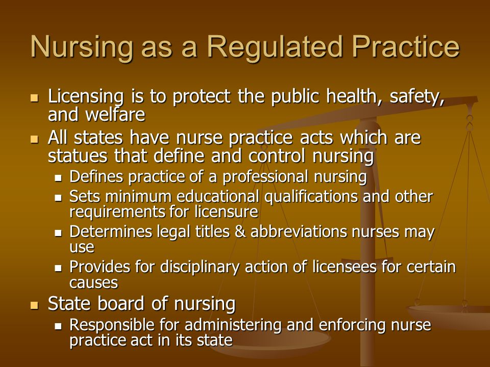 Nursing as a Regulated Practice