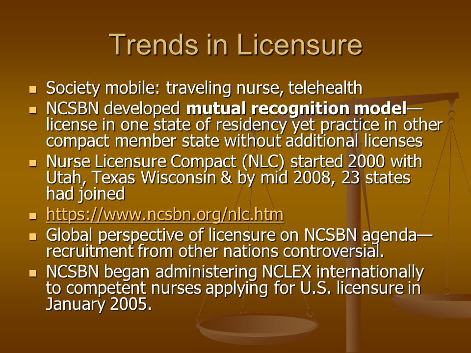 Trends in Licensure Society mobile: traveling nurse, telehealth