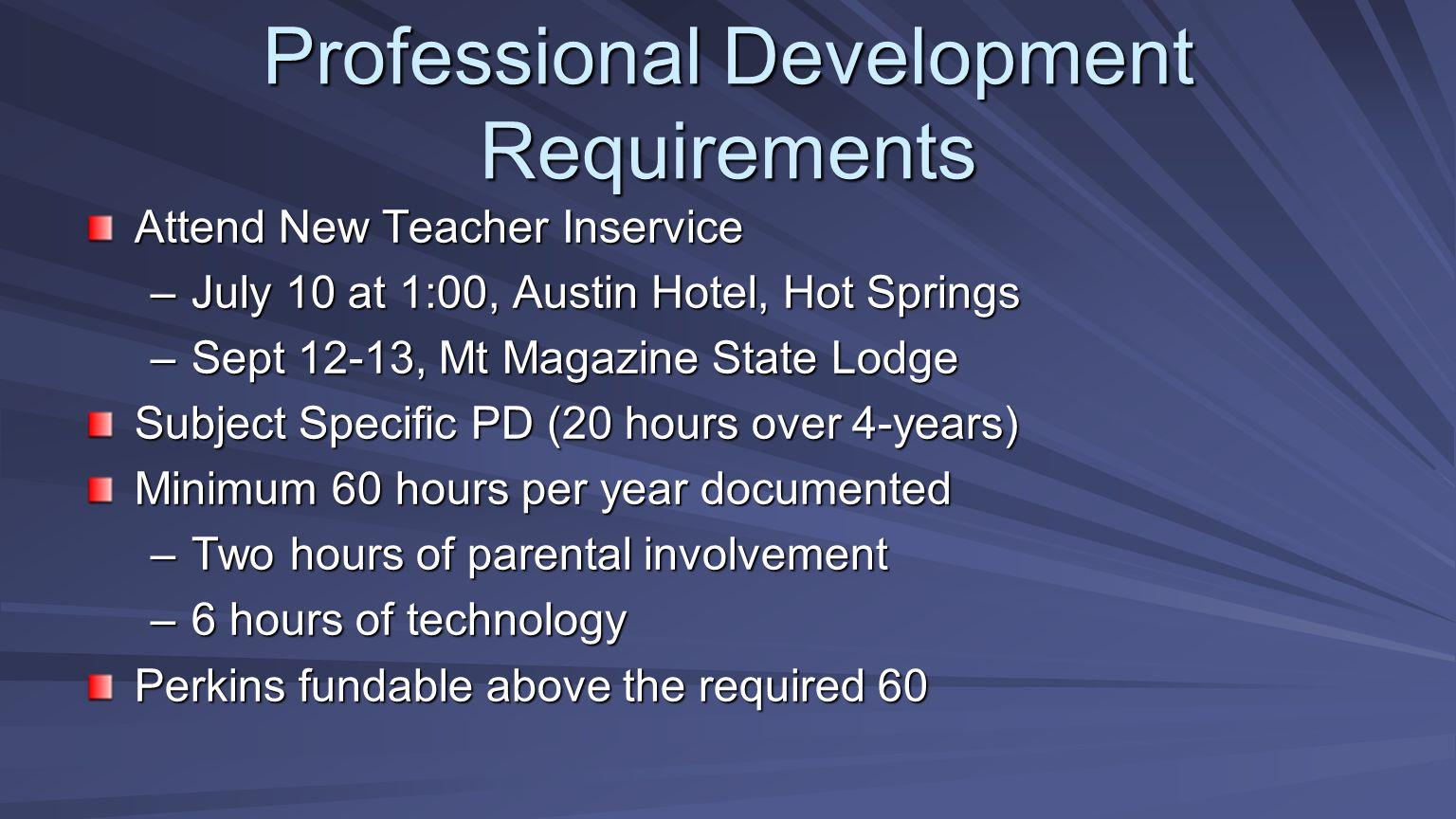 Professional Development Requirements