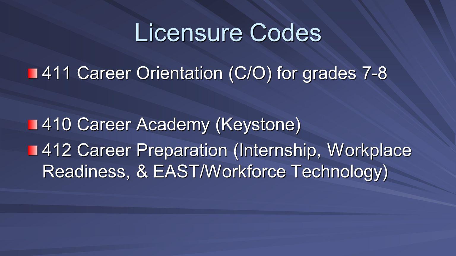 Licensure Codes 411 Career Orientation (C/O) for grades 7-8
