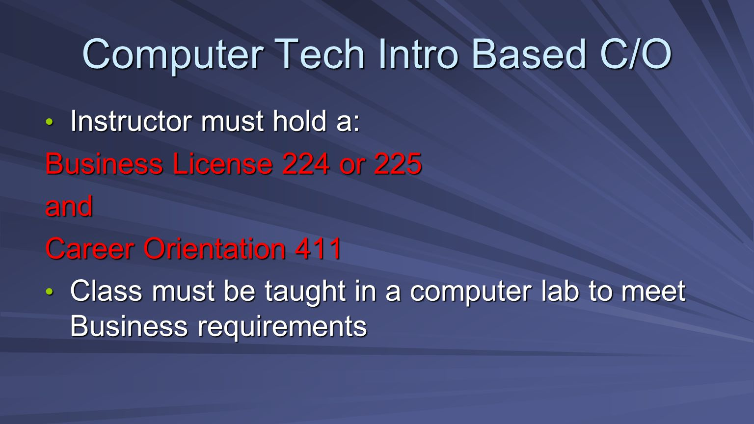Computer Tech Intro Based C/O