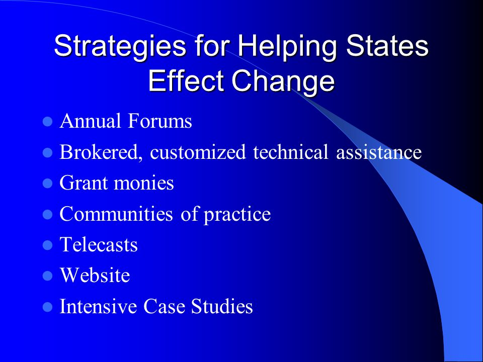Strategies for Helping States Effect Change