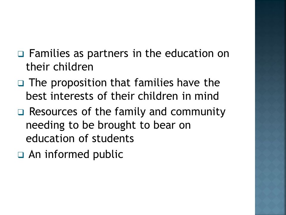 Families as partners in the education on their children