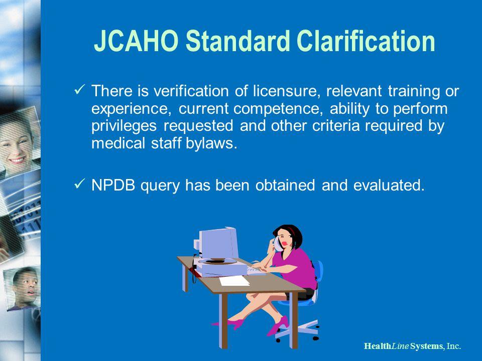 JCAHO Standard Clarification