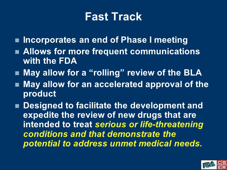 Fast Track Incorporates an end of Phase I meeting