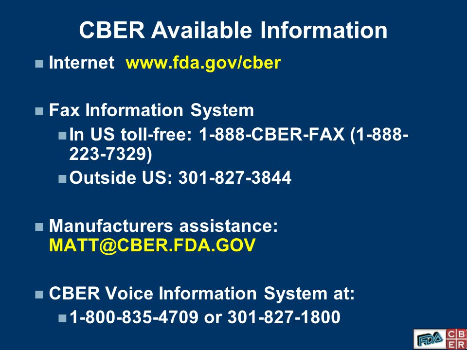 CBER Available Information