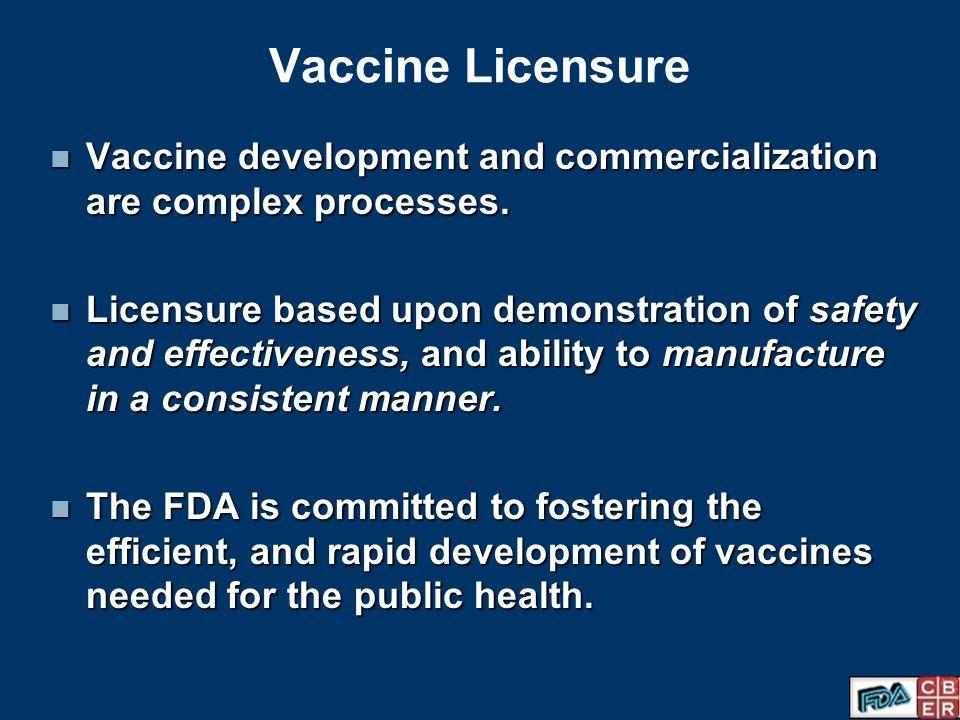Vaccine Licensure Vaccine development and commercialization are complex processes.