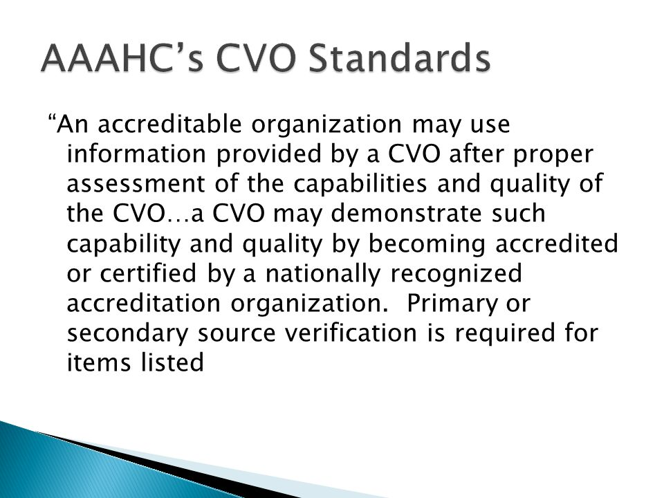 AAAHC's CVO Standards