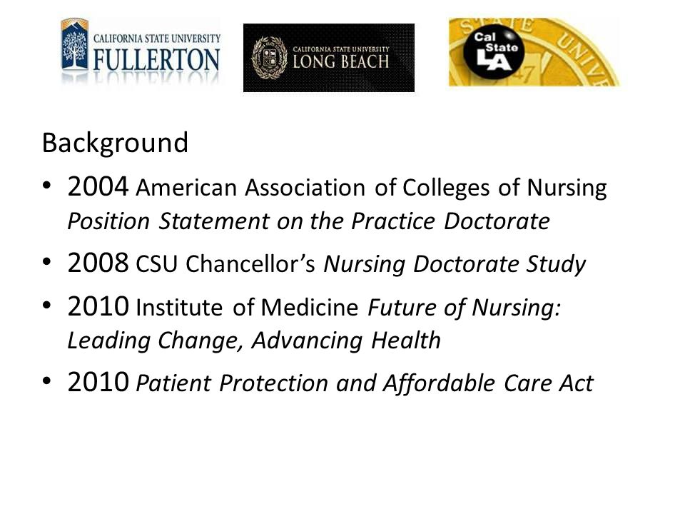 2008 CSU Chancellor's Nursing Doctorate Study