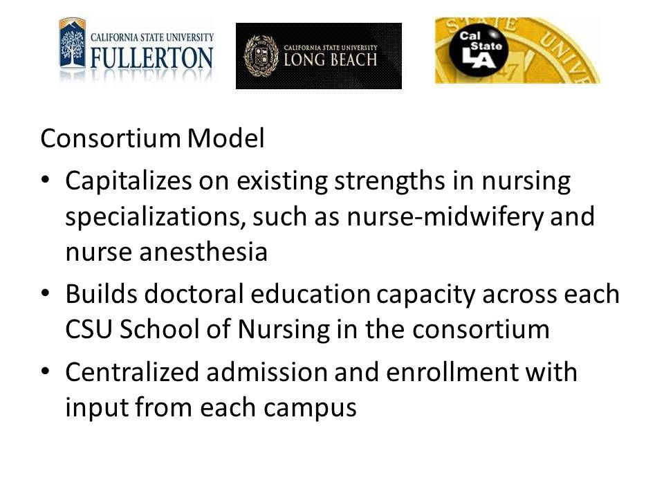 Consortium Model Capitalizes on existing strengths in nursing specializations, such as nurse-midwifery and nurse anesthesia.